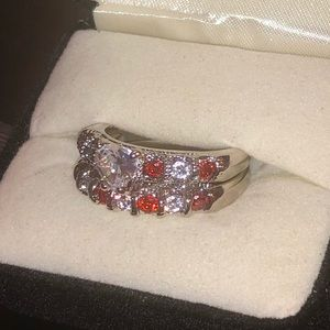 Ruby CZ Ring Size 9 Engagement Set